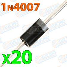 Diodo rectificador 1N4007 1000v 1A - Lote 20 unidades - Arduino Electronica DIY