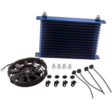 """15 Row 10An Engine Transmission Oil Cooler + 7"""" Electric Fan Blue Kit Universal"""