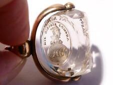 19thC NICHOLSON Baronet Gold Carved Rock Crystal Intaglio Swivel Seal Fob