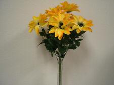 YELLOW Dahlia Satin Bush 9 Artificial Flowers Bouquet 9004YL