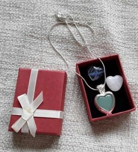 vintage retro jewelery interchangeable heart shape real crystals necklace box