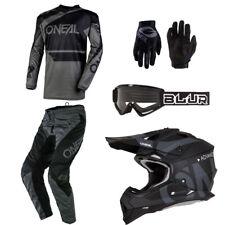 O'Neal Element Black motocross dirt bike gear - Helmet Jersey Pants Gloves combo