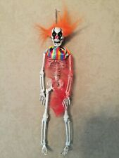 Scary Clown Skeleton Haunted Halloween Hanging Yard Decor. Creepy Figurine