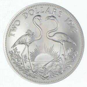 SILVER - WORLD Coin - 1973 Bahama Islands 2 Dollars - World Silver Coin *765