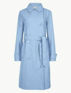 M&S Baby Blue Double Breasted Trench Coat UK 14 RRP £49.50