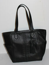 COLE HAAN Black leather handbag tote bag purse with trendy fringe