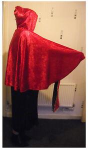 hooded cape 3 lengths black red white green blue or purple overlocked finish