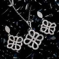 18k white gold gf made with SWAROVSKI crystal stud earrings pendant necklace set