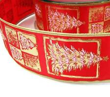 """5 Yd Christmas Red Gold Christmas Trees Wired Ribbon 2 1/2""""W"""