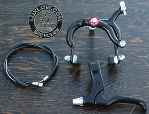 Black Fixie ALLOY Front Brake Lever Cable Caliper Fixed Gear Bicycle VintageBike