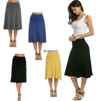 Women Casual Fold Over Waist Solid Stretch Flared Midi Skirt BRCE