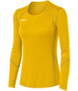ASICS Unisex-Child Jr. Volleycross Quick-Dry Long Sleeve Top,Gold/Steel Grey, XL