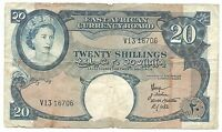 British East Africa Banknote 20 Shillings 1958 1960 P39 gF Queen Elizabeth Rare