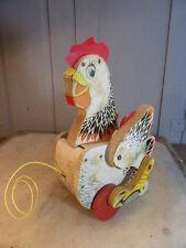 Vintage fisher price Hutchins poule PULLALONG Poulet Jouet