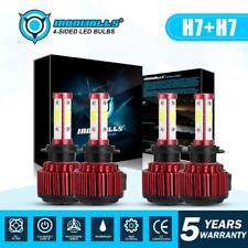 4x Combo H7 Car 4 side LED Headlight Kit High Low Beam Bulb 1800W 270000LM 6000K