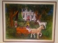 Original Folk Art Oil Painting Country Manor Horse Wagon Regionalism Signed VTG