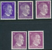 Stamp Germany Mi 785a-e Shades 1941 WW2 3rd Reich Hitler Selection MNH