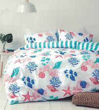 BAYSIDE BY CANNINGVALE SHELLY SHELLS/STARFISH/CORAL QUILT COVER SET SINGLE NEW