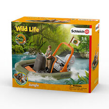 Schleich 42352 Dinghy with Ranger Figurine (Wild Life) Figure with Movable Arms