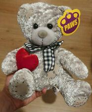 Paws grey teddy bear heart I love you soft plush toy new