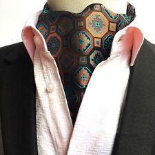 Men Brown Blue Formal Cravat Scarves Ascot Geometric Flower Wedding Ties LJA04