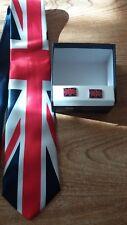 union jack neck tie and cufflink set united kingdom loyalist royal wedding