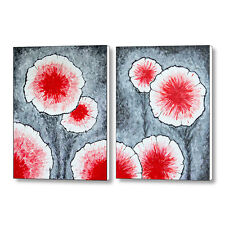 Fantasy Flowers In Red - Set of Two 18x24 Original Abstract Paintings On Canvas