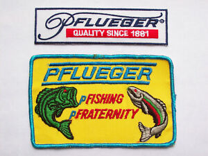 2 VINTAGE PFLUEGER EMBROIDERED FISHING PATCHES