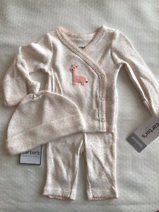 Preemie baby girl 3 pc Carter's layette white w/pink pant,cardigan,knotted hat