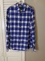 Lands' End Mens Large 16-16.5 Tailored Fit Button Down Plaid Flannel Dress Shirt