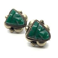 Vintage Sterling Silver Earrings 925 Green Onyx Mexico Face Carved