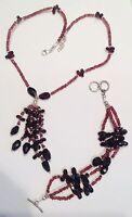 parure argent 925 et véritable grenat briolette  collier pampille et bracelet