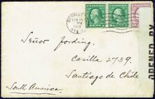 009 US TO CHILE CENSORED COVER 1918 BROOKLYN, NY - SANTIAGO