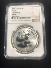 2000 China Silver Panda 10 Yuan NGC MS 69 Frosted Ring**