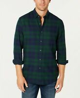 Club Room Men's Flannel Shirt Black Forest Green Small ()