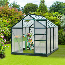 More details for outsunny polycarbonate walk-in garden greenhouse aluminum frame plant hobby