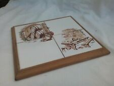 Tile pot stand/trivet with wooden frame, large, square, rustic décor