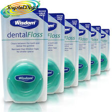 6x Wisdom Dental Floss Waxed Mint 100m