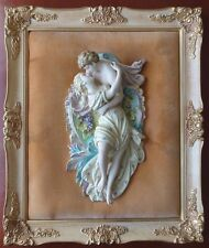 Antique Two Lovers Romeo Juliet Framed Ceramic Wall Art Sculpture Plaque, Italy