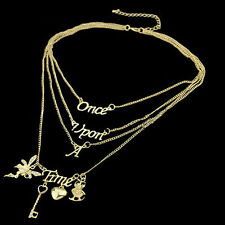 "Women Love Heart ""Once Upon A Time"" Letter Charm Multilayers Necklace UNO"
