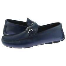 """Alex D """"Richmond"""" Men's Leather Moccasins, Driving Shoes, Bit Loafers, Blue"""