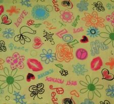 "31"" Peace Signs Love Lips Flower Butterflies Hearts Light Lime Green Background"