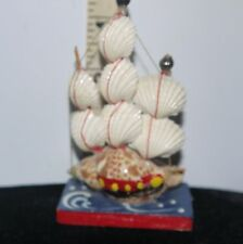 Nautical Seashell Crafted 3 Master Schooner Sailing Vessel/Ship on Wooden Base