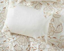 Anthropologie Embroidered Flowers Saffron Cotton Standard Sham White Wheat NEW