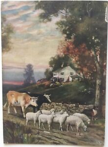 Farm Cottage - Collie leading sheep and cows  - artist R. Atkinson Fox