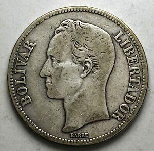 1919 Venezuela 5 Bolivar Silver 900 Y#24.2
