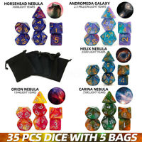 35Pcs/Set Polyhedral Dice DND RPG Game Poker Card Dungeons Dragons Party &bags