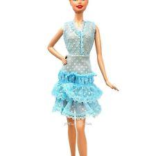 Barbie Fashion Light Blue Dotty Glitter Print Dress Cynthia Rowley  New