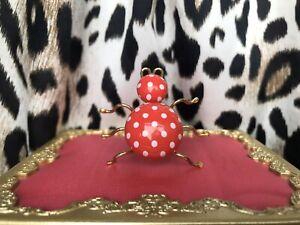 Betsey Johnson Vintage LARGE Red & White Polka Dot Spider Bug Lucite Ring RARE