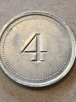 Token Coin, 4, G.I.W. 4 Token, Light Weight Metal Old Coin Vintage T3